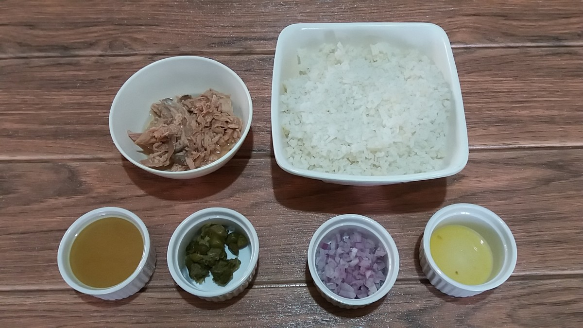 ingredients for tuna lemon capers fried rice recipe