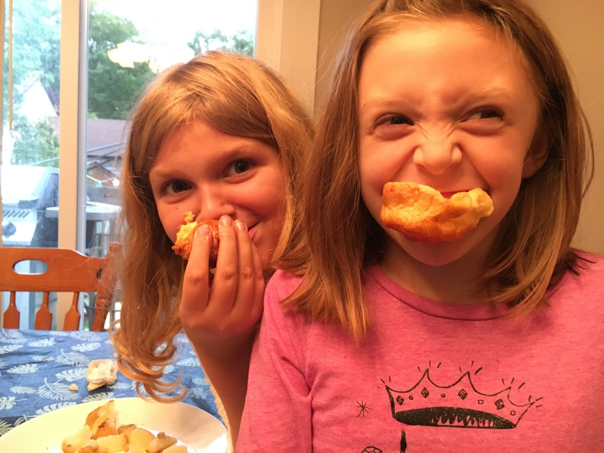 My daughters Emma and Grace enjoying their puddings!