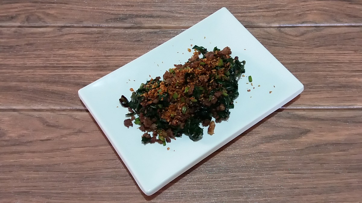 sausage and water spinach in chili garlic oil
