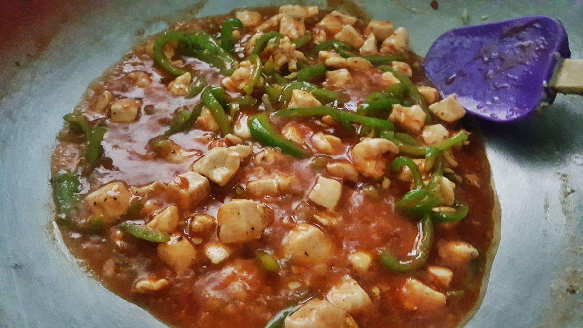 Add vinegar, hot sauce, and ketchup