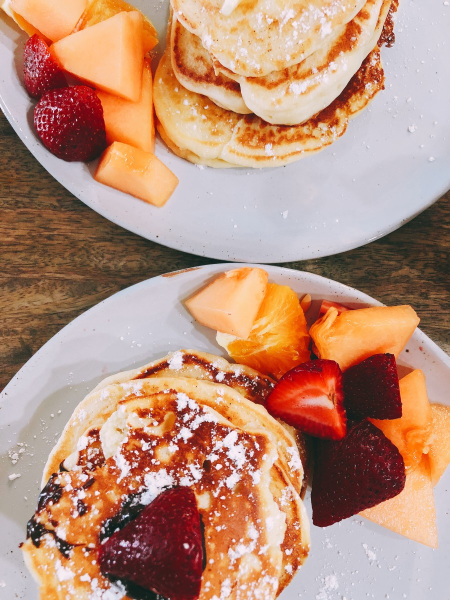 Pancakes with fresh fruit are like heaven!