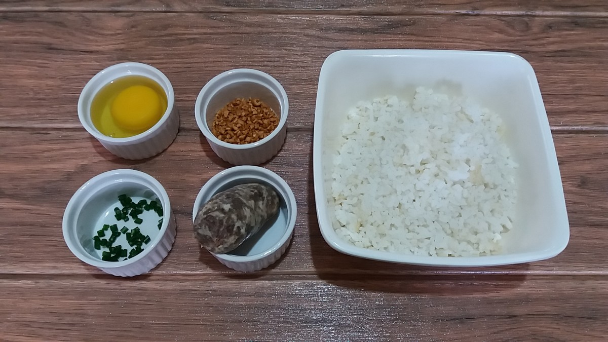 ingredients for sausage and egg breakfast rice bowl