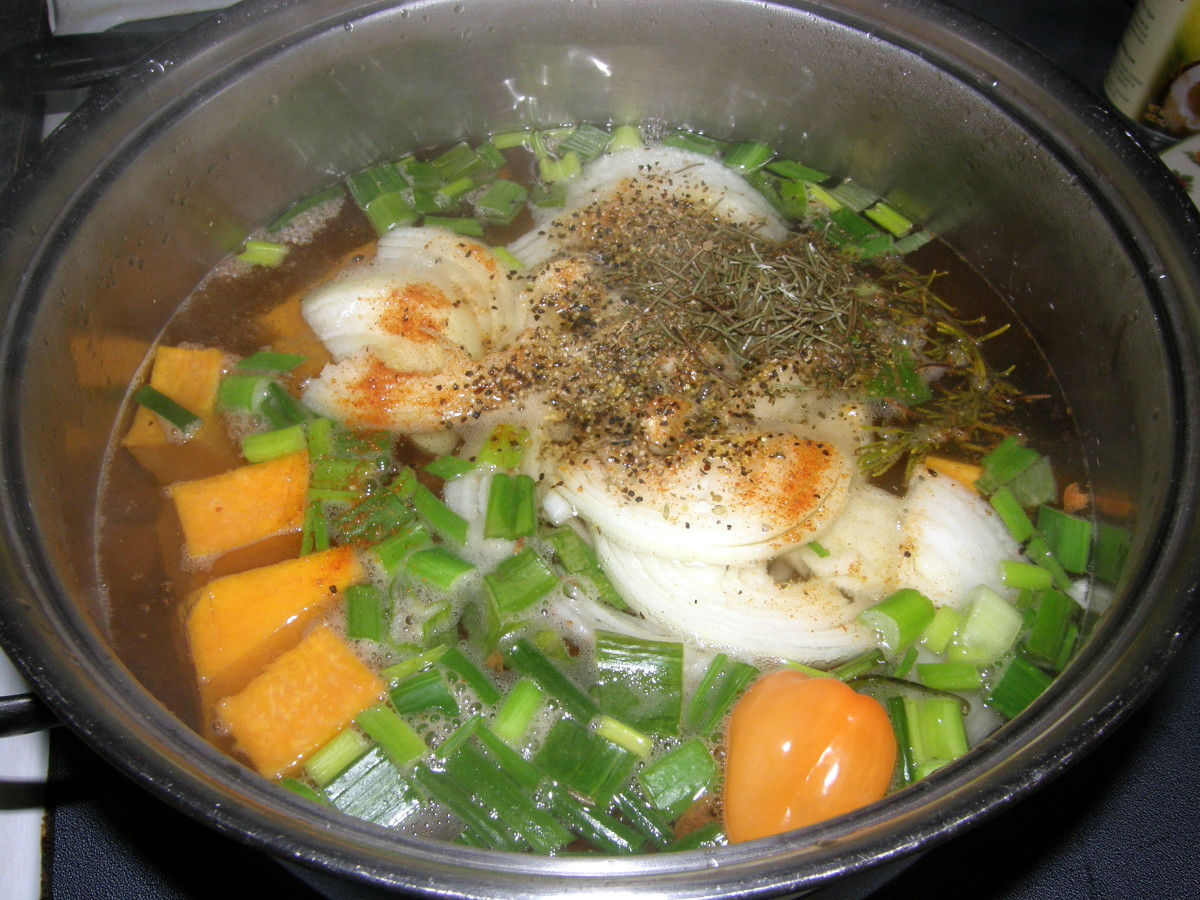 At this point, add the herbs and spices. Boil for about 10 minutes, or until the vegetables have softened.