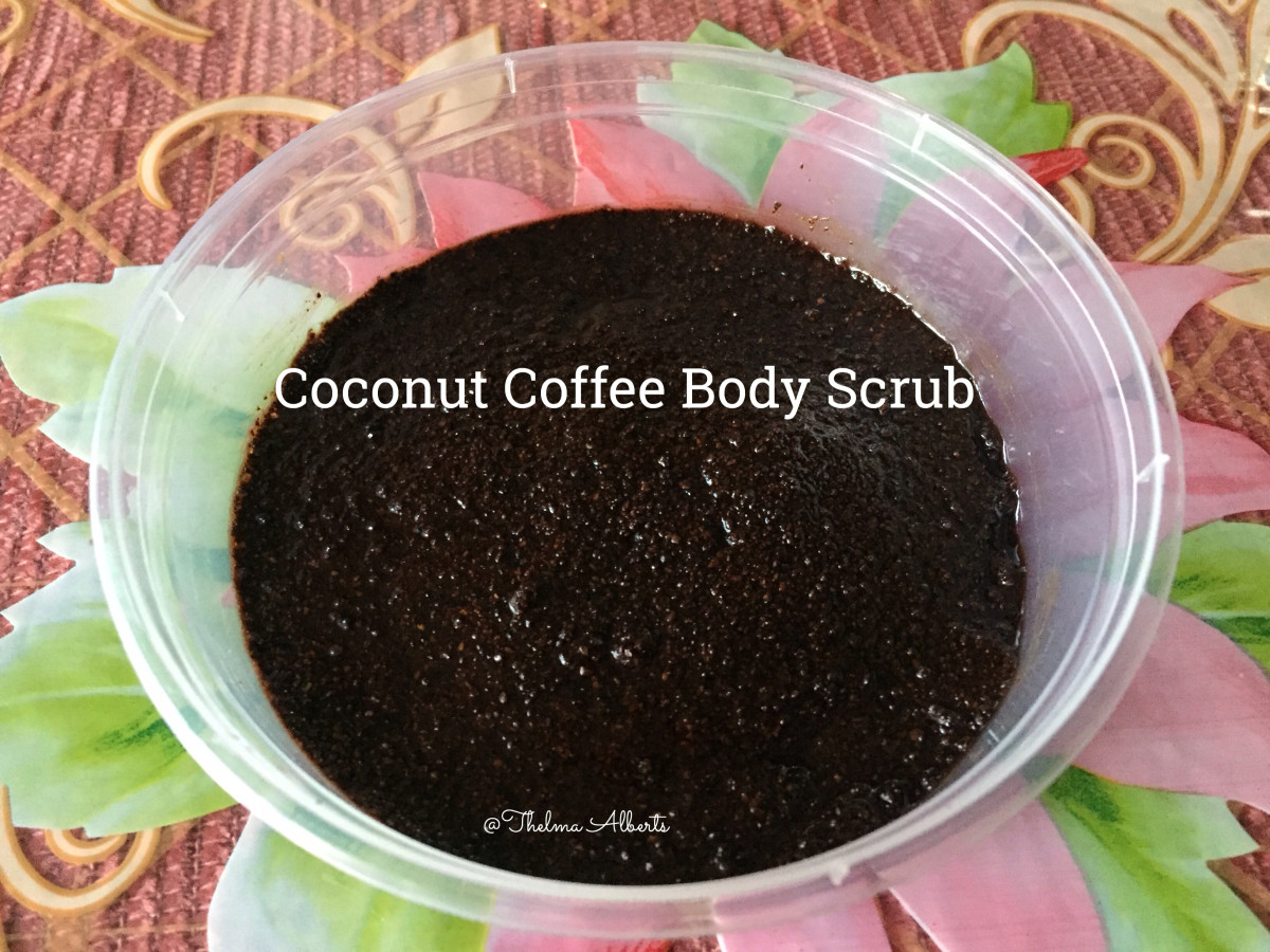 I made this coconut coffee body scrub. This scrub is wonderful for making my skin feel smooth.