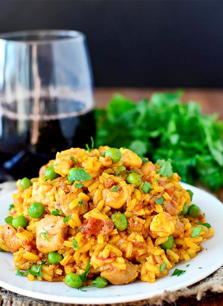 Chicken paella.