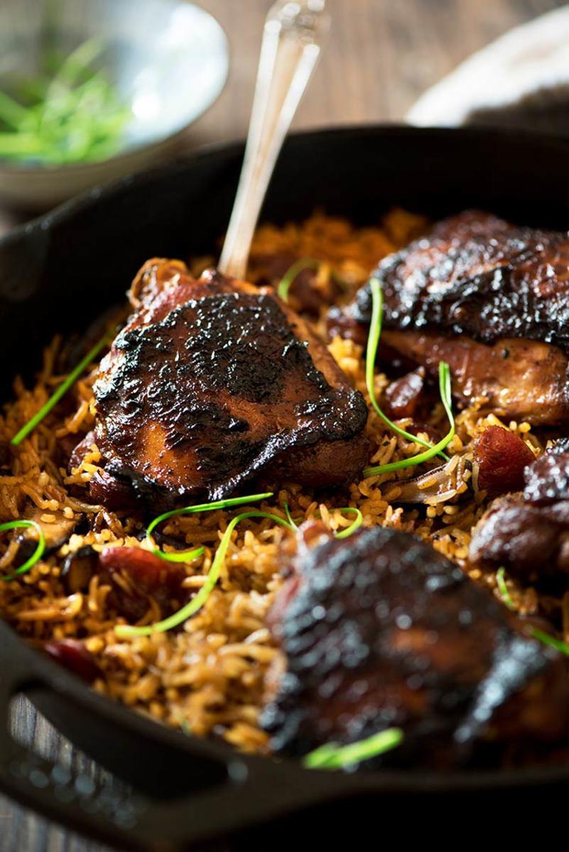 Claypot chicken and rice.