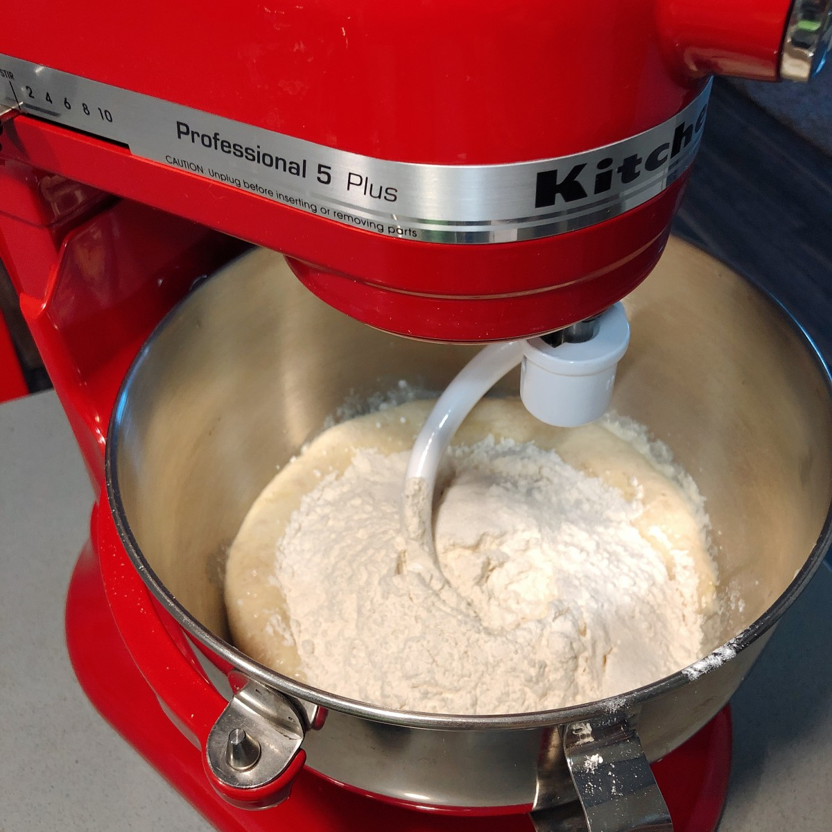 Mix the dry ingredients into the yeast mixture.