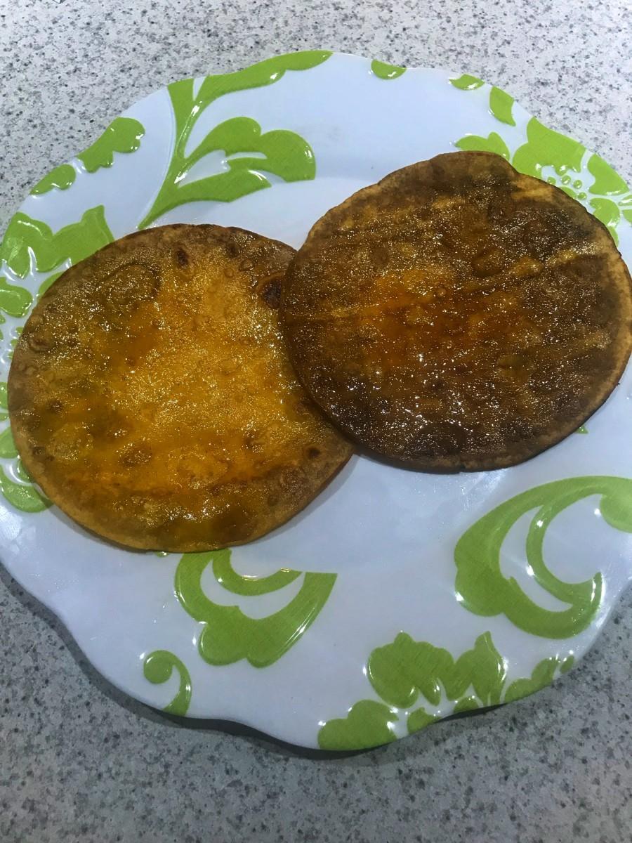 """Healthy """"fried"""" corn tortillas."""