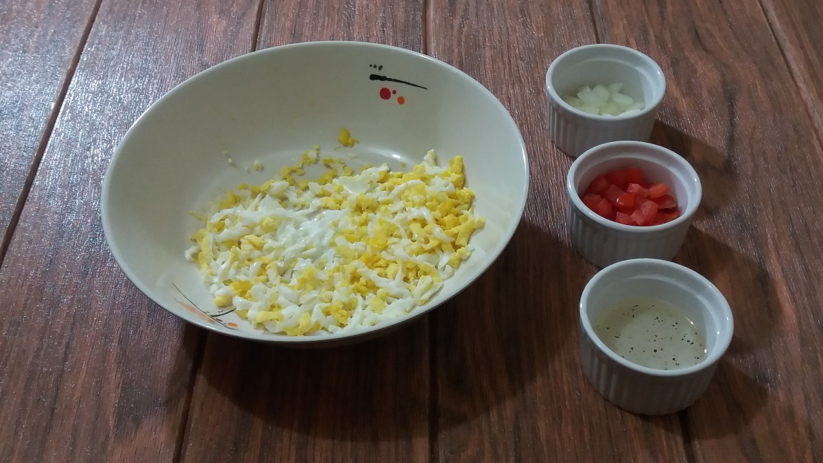 ingredients for egg salad with vinaigrette dressing (no mayo)
