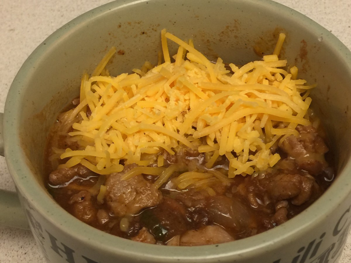 Chipotle Cherry Chili served topped with cheese