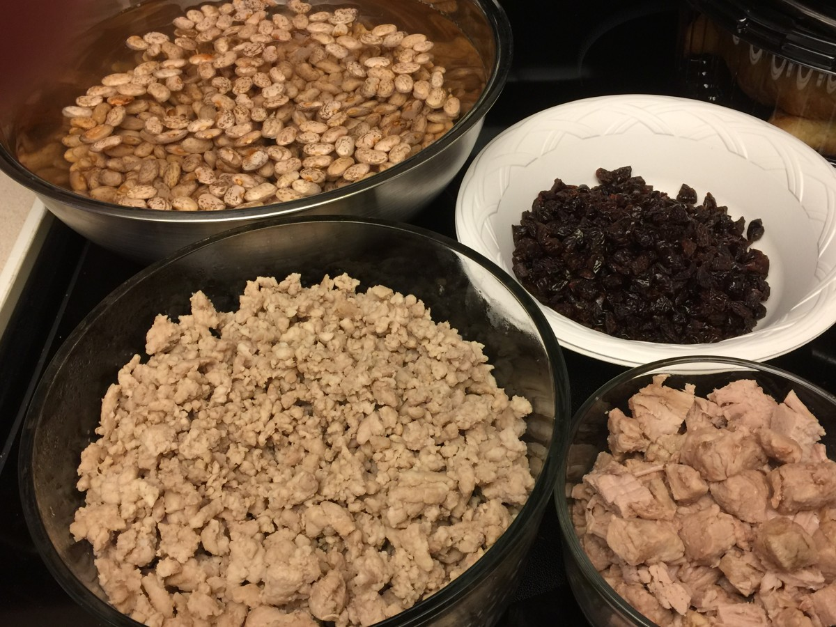 Ingredients- dried pinto beans, dried cherries, pork loin cubes, ground pork