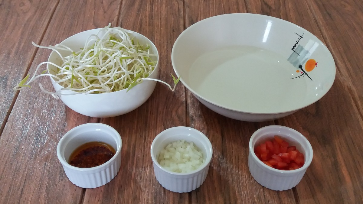 ingredients for kongnamul in chili garlic oil recipe