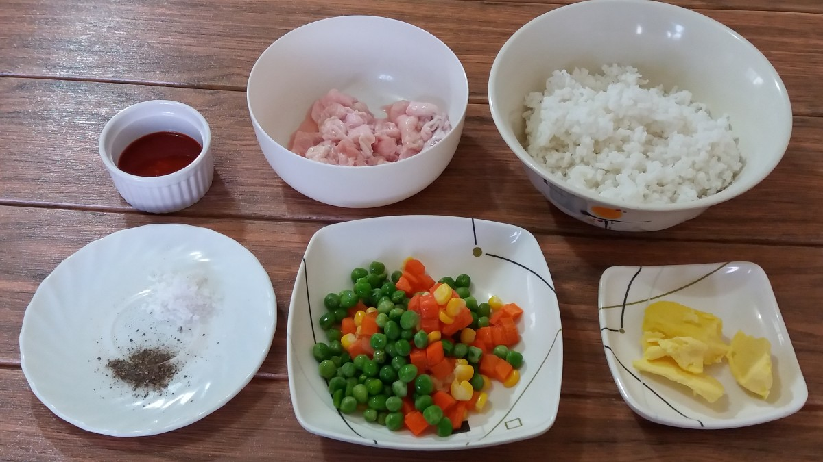 Ingredients for chicken skin fried rice with two-ingredient Buffalo sauce