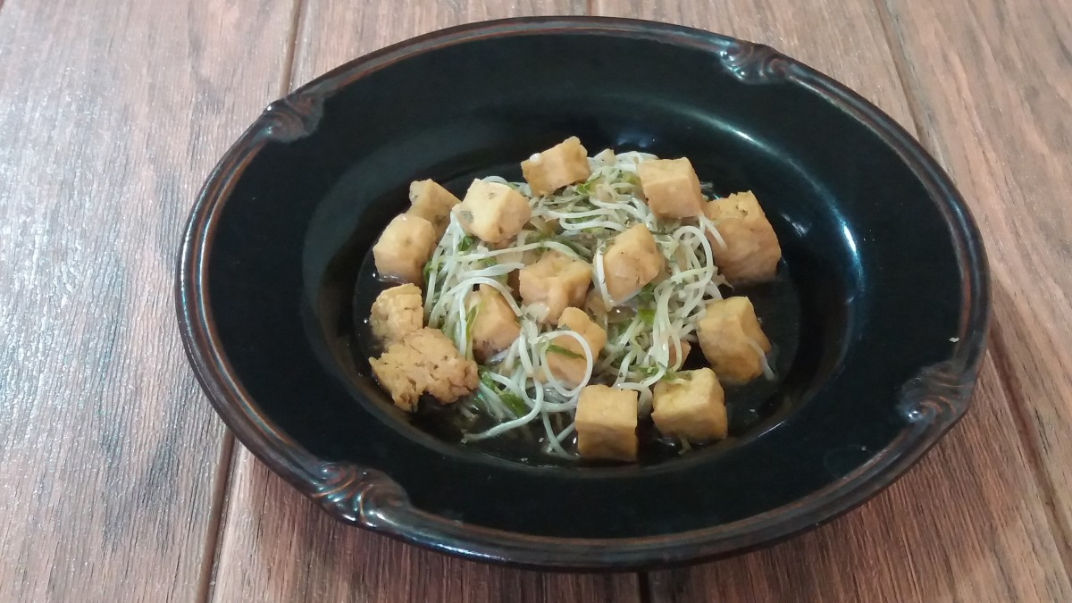 A simple mung bean sprout recipe with fried tofu
