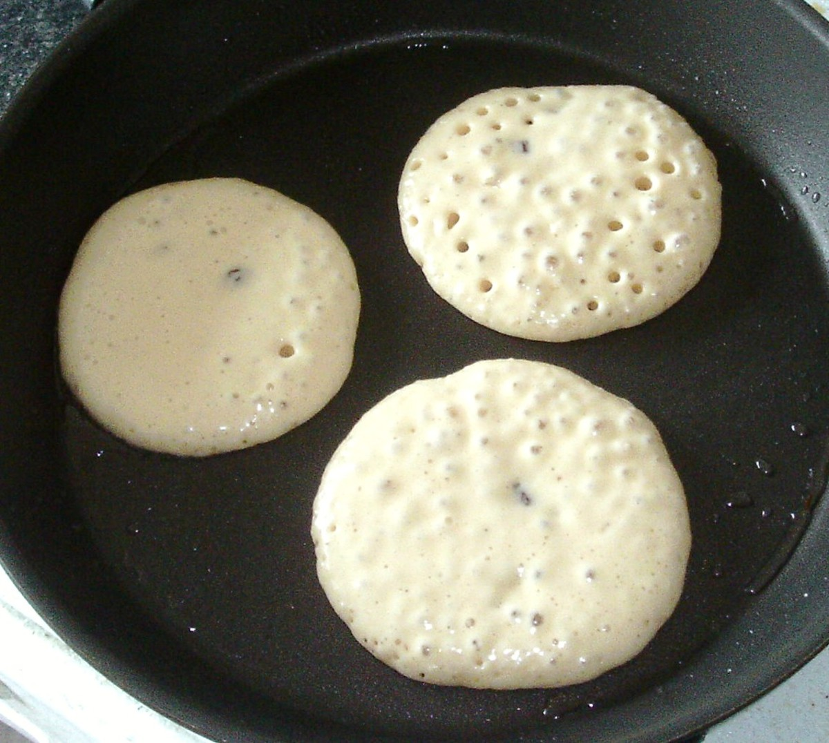 Pancake batter is starting to bubble