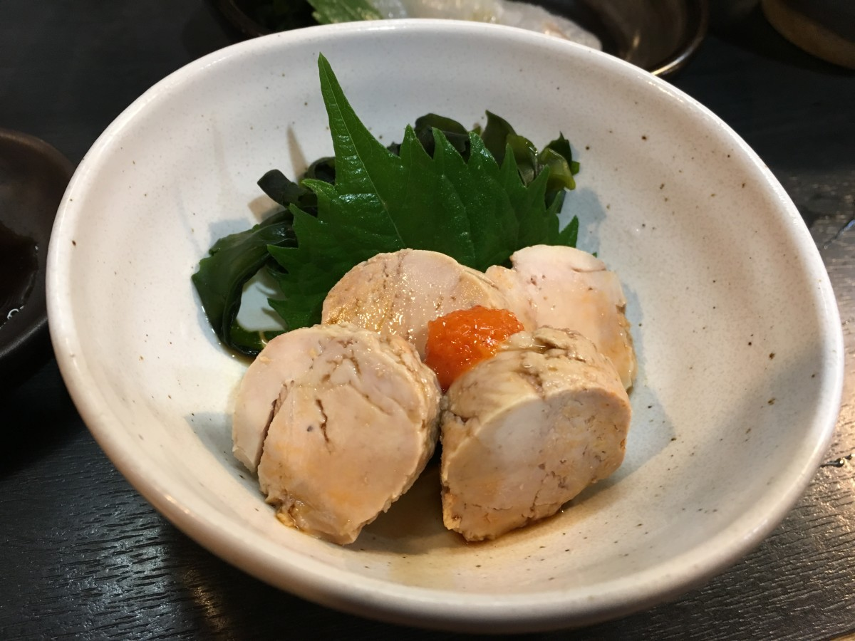 Soft and flavourful ankimo with ponzu sauce and momiji oroshi