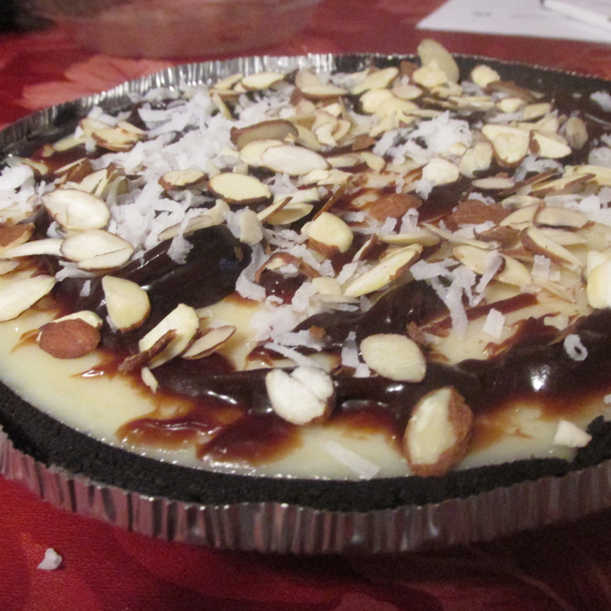 Pie with toppings.