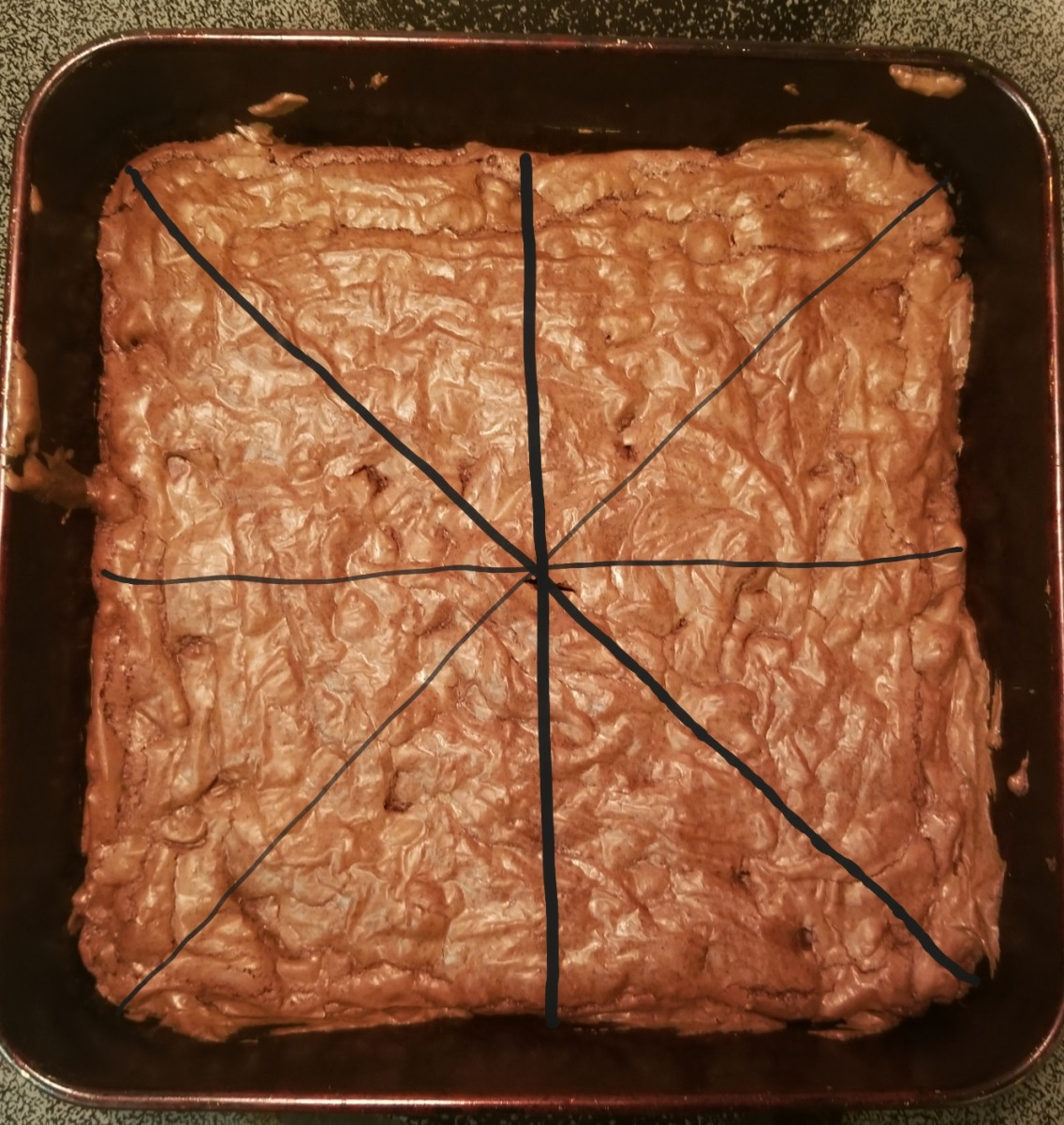 Step 2: Cut brownies into triangles.