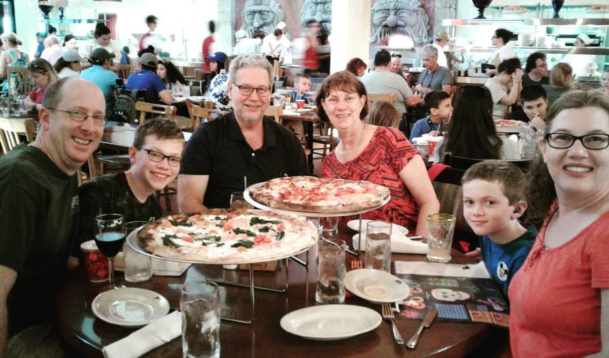 The entire Lefler family enjoys a great lunch at Via Napoli. While our wait was long, the food was delicious and it was wonderful to sit in an air conditioned restaurant!
