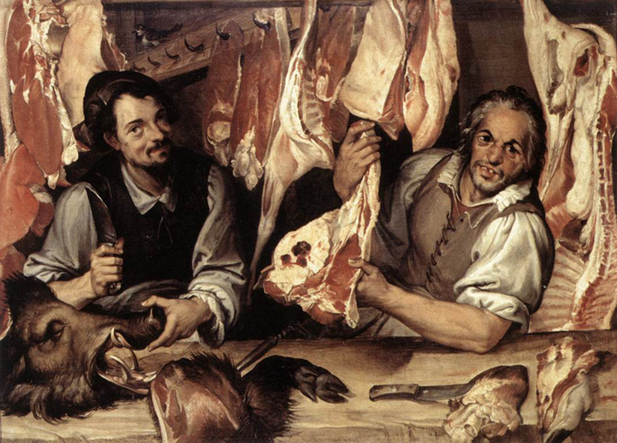 Butchers prepare meat for consumers.