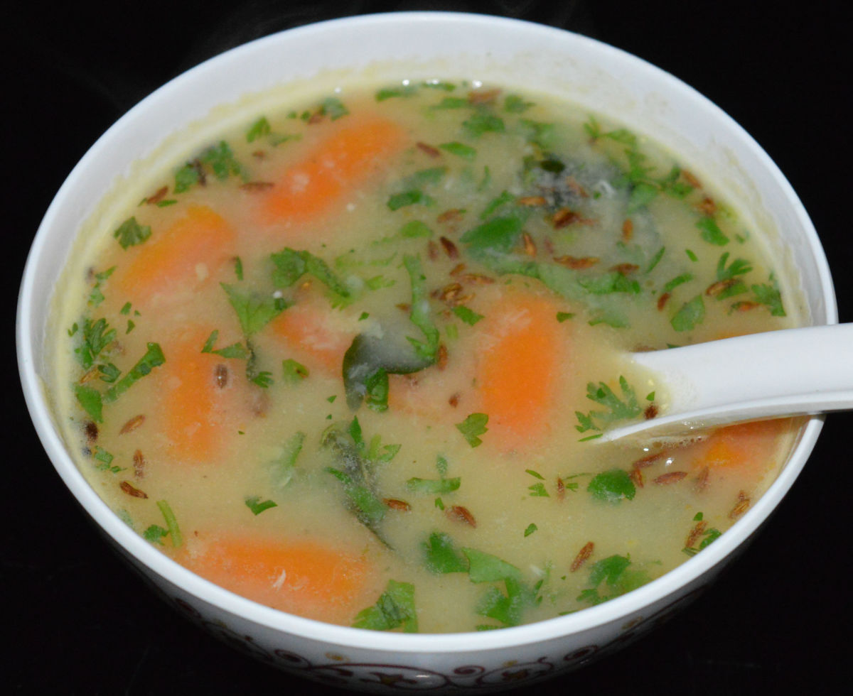 The moong dal soup is ready to serve! Pour it equally into 4 bowls. Serve hot! Enjoy the taste!
