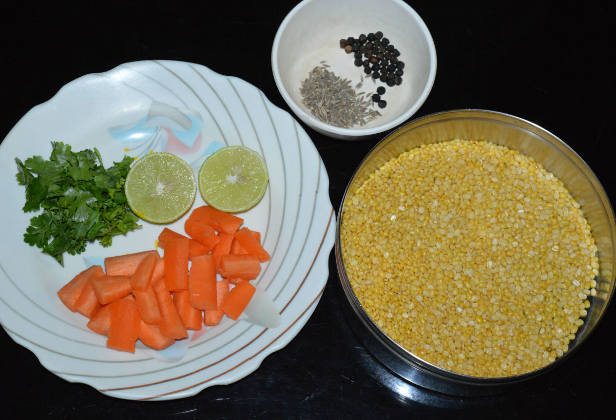 The ingredients for making moong dal soup.