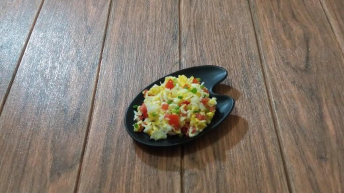 Egg salad with five-ingredient vinaigrette dressing