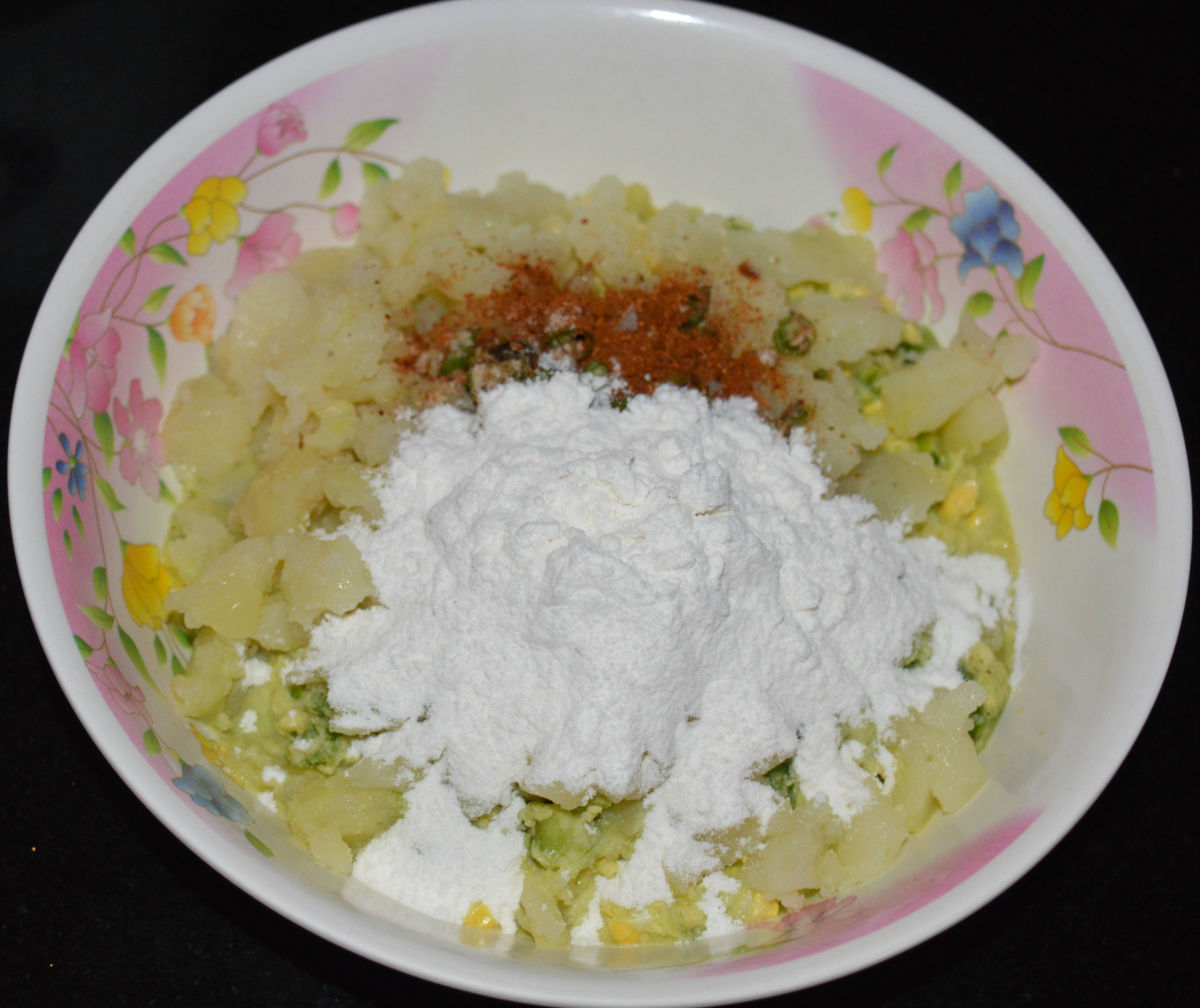 Step two: Combine all of the ingredients in a mixing bowl, except for the oil.