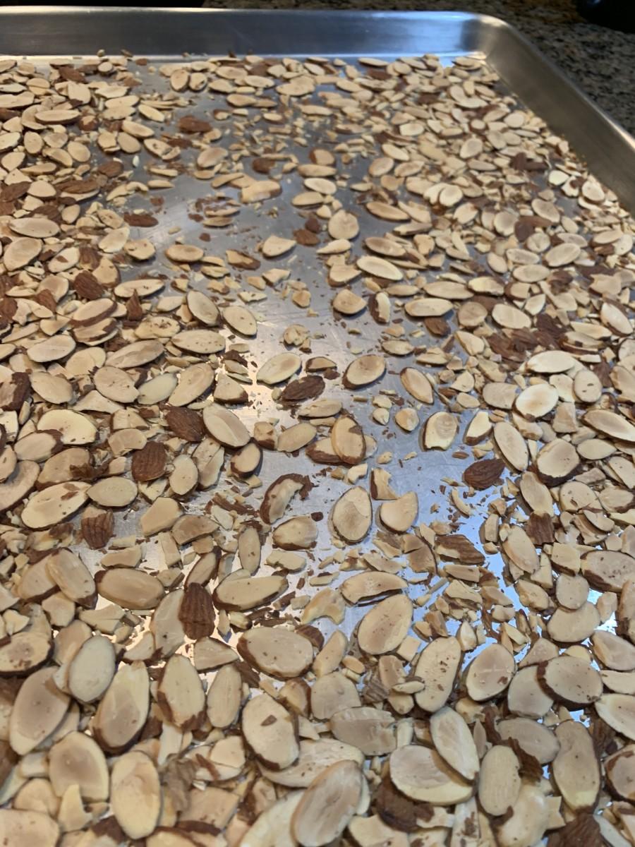 Step 1: Lightly Toast Sliced Almonds
