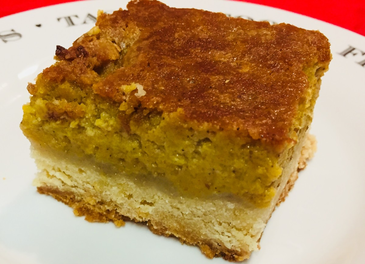 The St. Louis Gooey Cake has a firm, biscuit style base and a soft, sweet top layer.