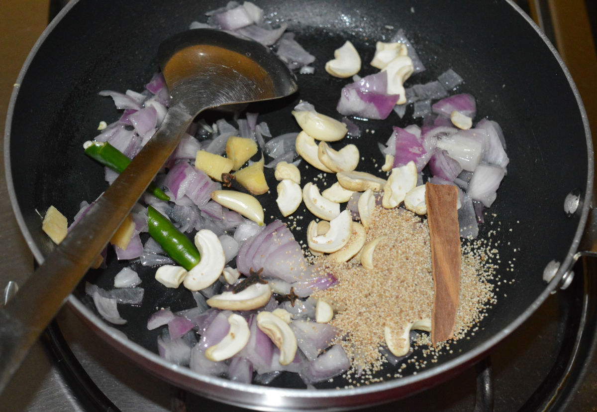 Step one: Saute the ingredients for the paste.