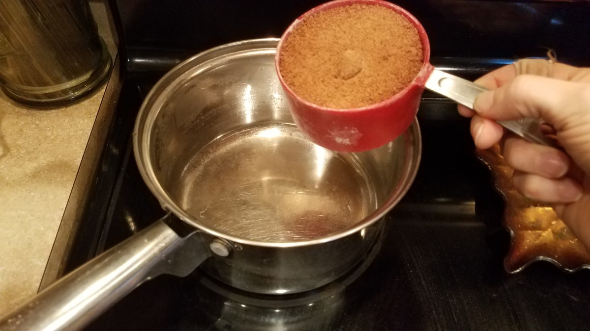 Shown one ingredient at a time. First pour your coconut sugar into your pot.