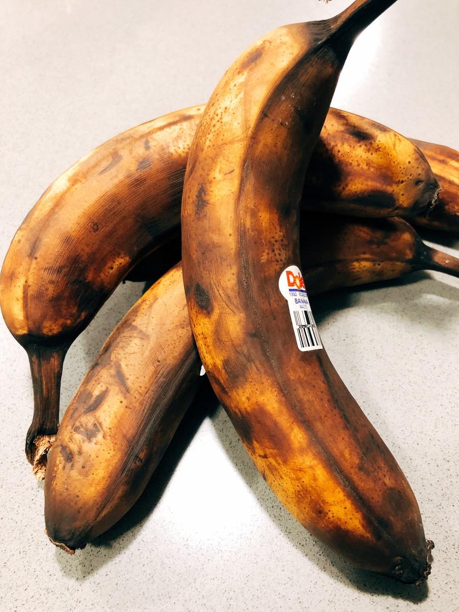 Overripe bananas on my kitchen counter.