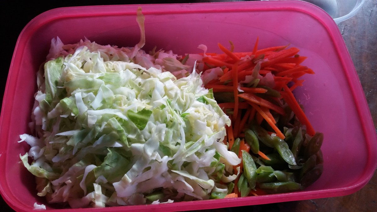 The ingredients for the chicken hi-bol: assorted vegetables.