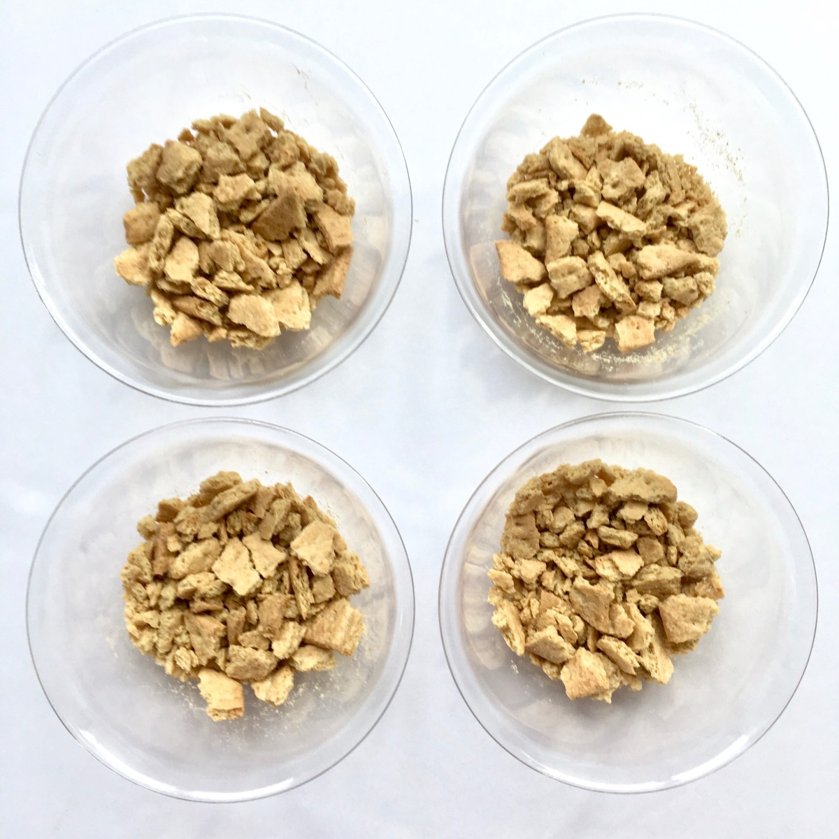 Crumble the crackers into small pieces.