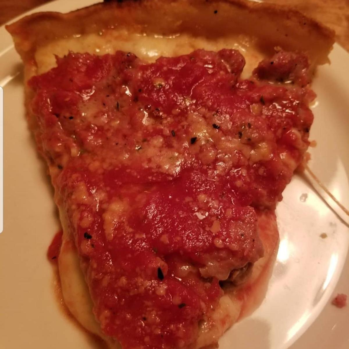 Close-up of a Lou Malnati's slice