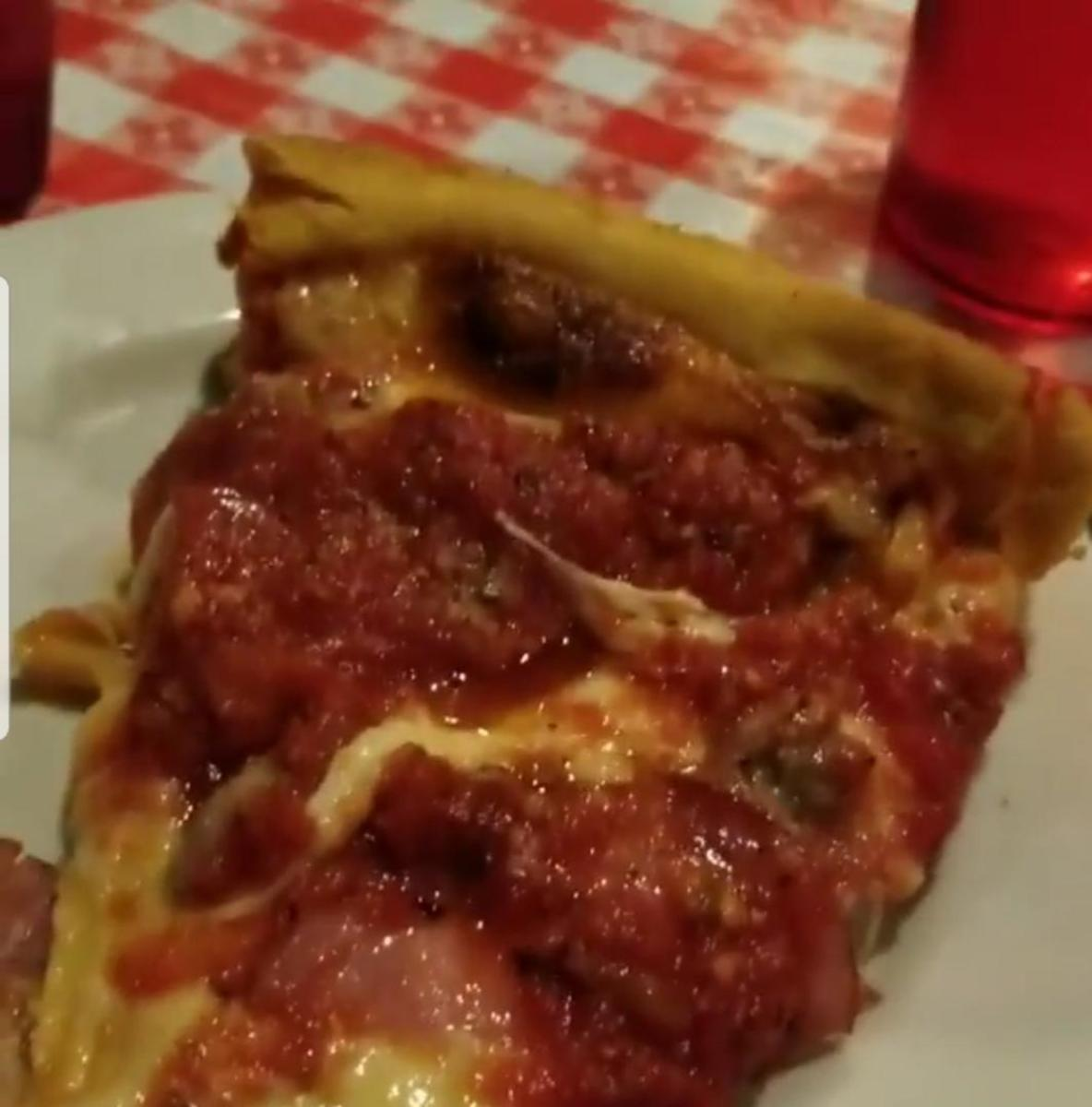 "Close-up look at Gino's ""Meat Lovers"" pizza"