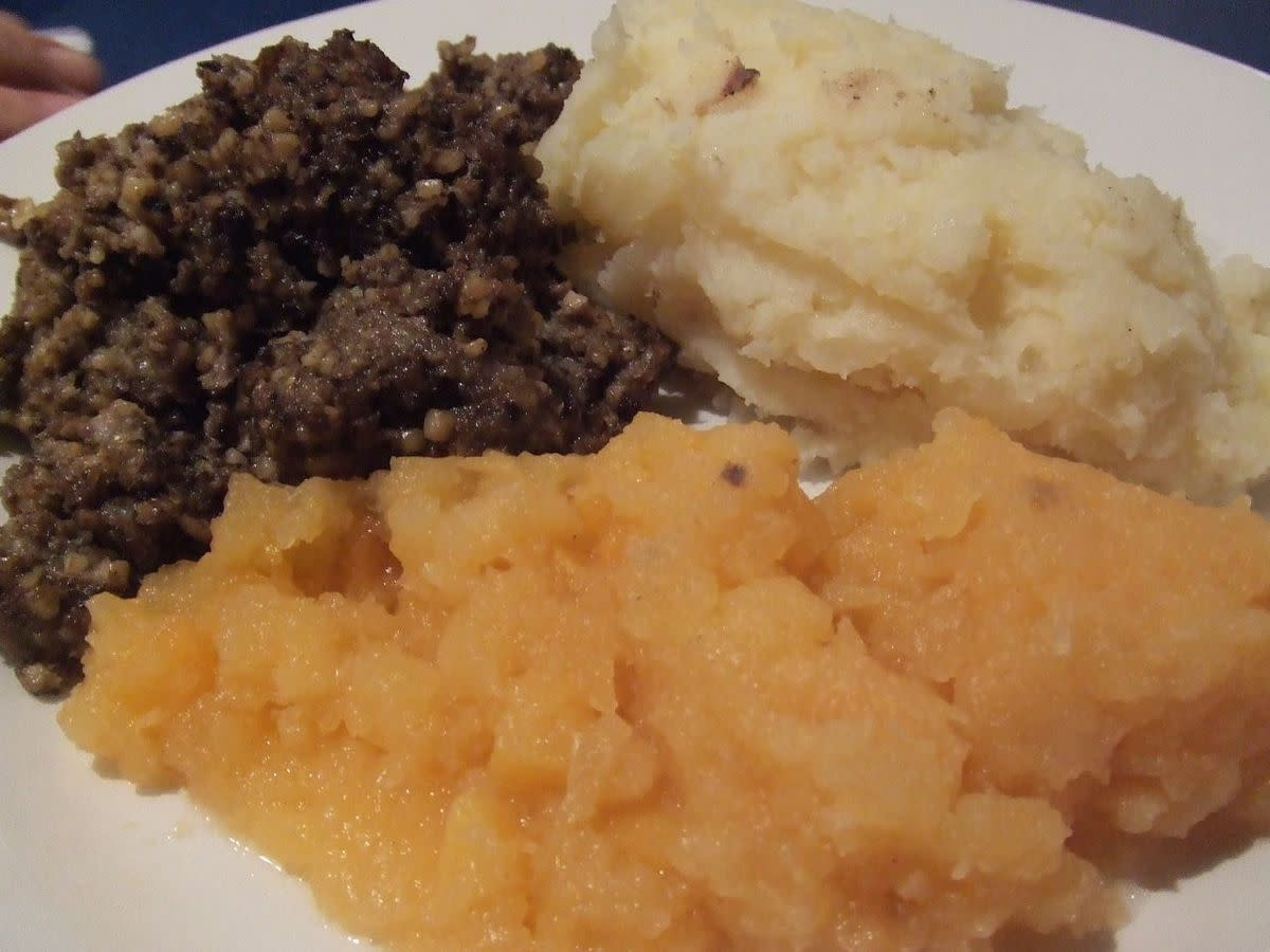 Haggis with neeps and tatties. No poutine here.