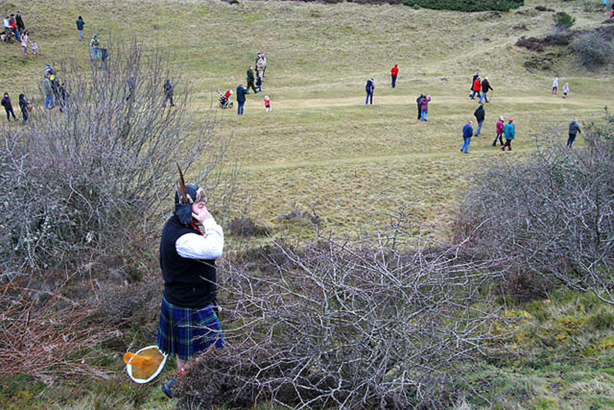 The annual Haggis Hunt on Selkirk Hill in Scotland attracts hundreds.