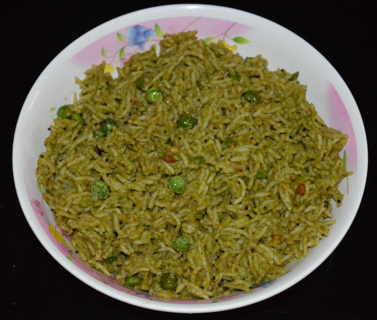 Mint Leaf Rice (Pudina Rice or Pudina Pulao)