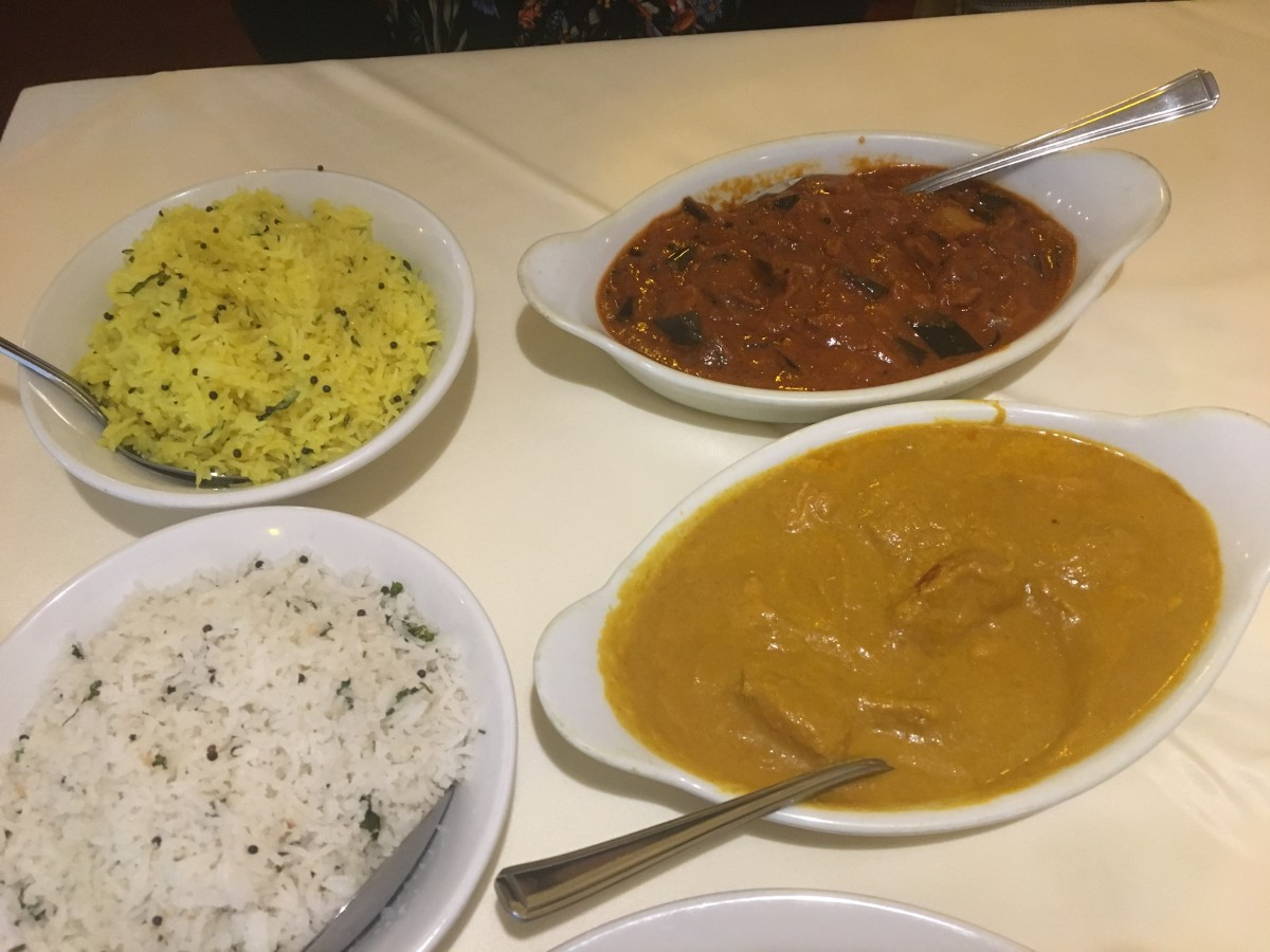 Aubergine masala, chicken Malabar and coconut and lemon rice