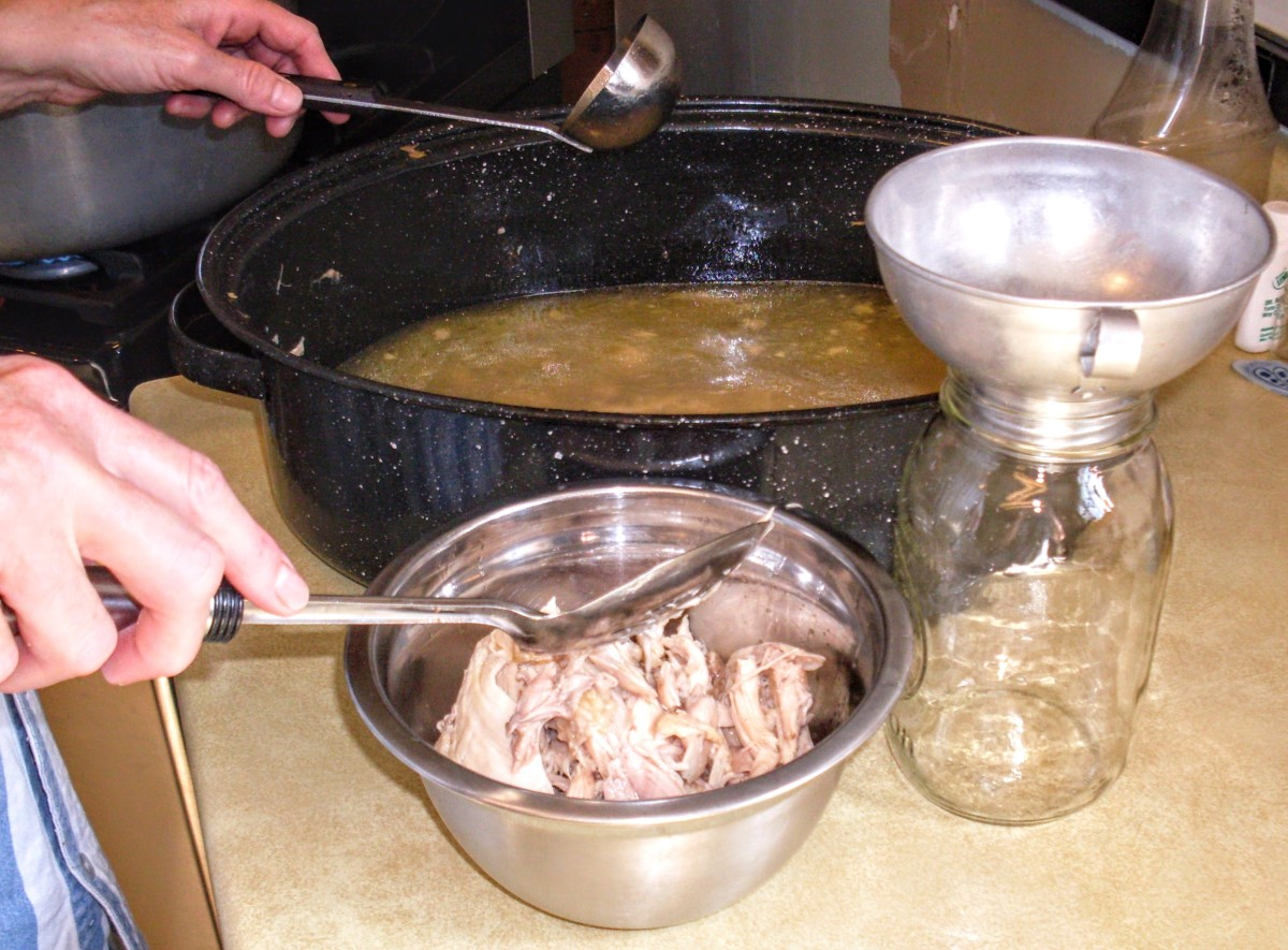 The chicken meat was canned separately, with broth to cover. The extra broth is what I will be dealing with here.