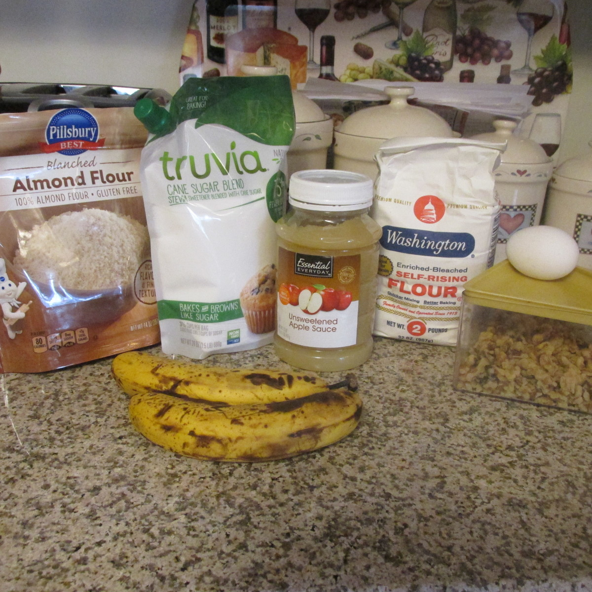 Ingredients for banana nut muffins