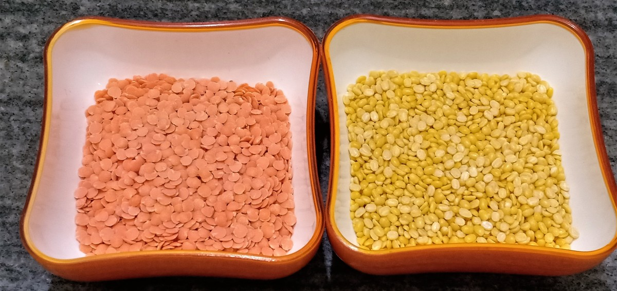 Left: Masoor dal (red lentils). Right: moong dal (yellow lentils).