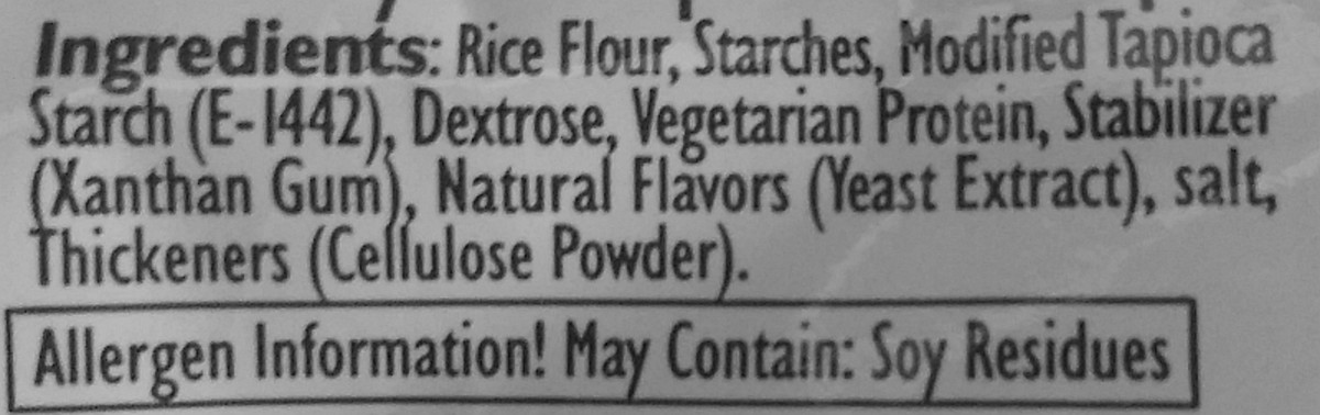 These are the ingredients of our locally produced (Israeli) GF flour. Anything similar will do. A brand with no added sweetener is OK, too.