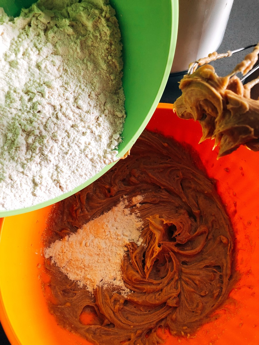 Gradually add the flour mixture into the wet mixture.