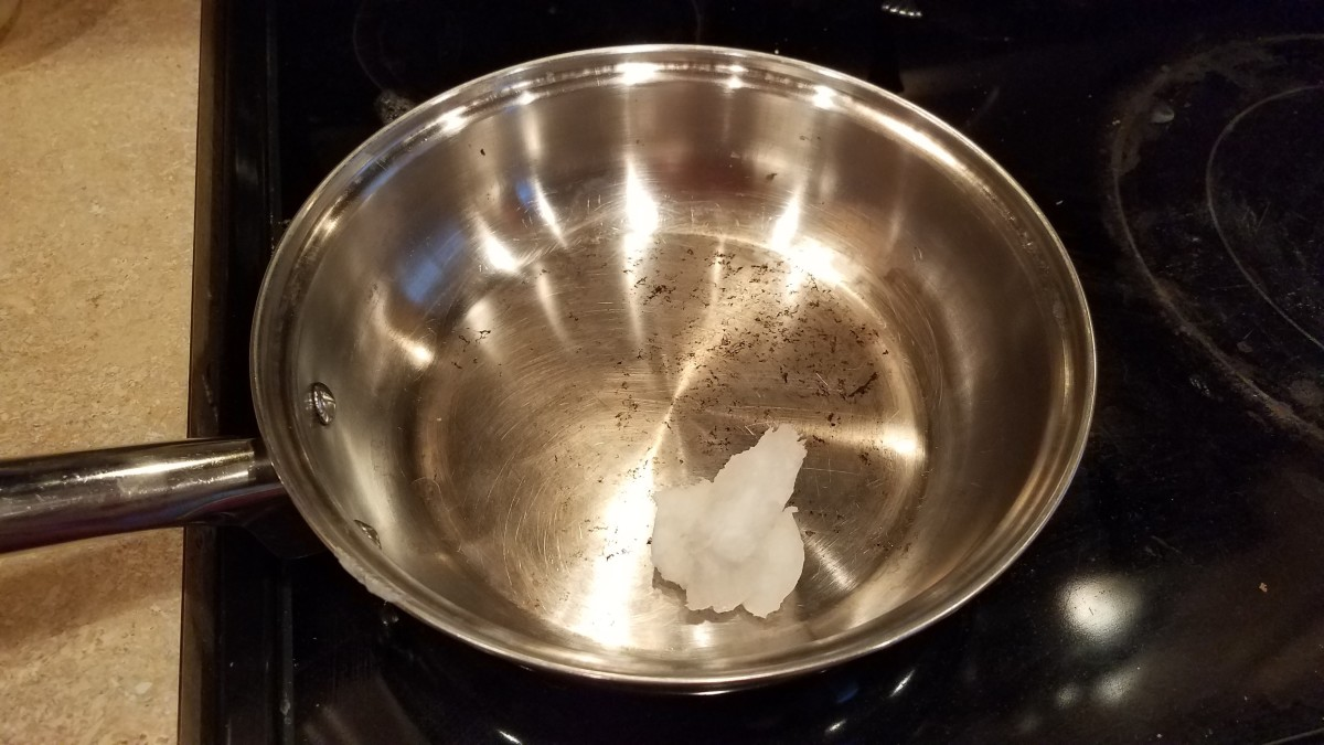 Start by melting your coconut oil in a pan on the stove over medium heat.
