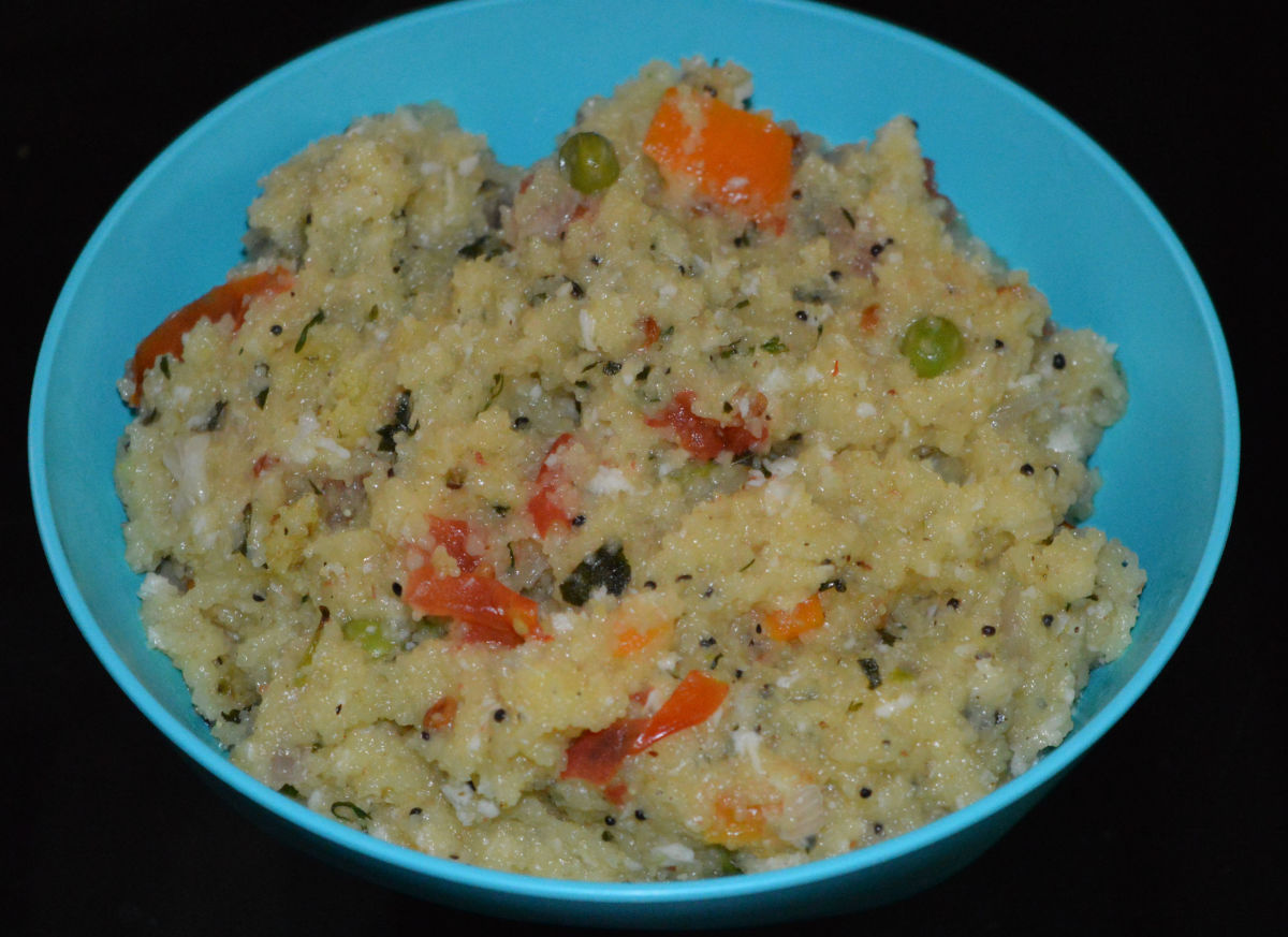 Upma made using homemade instant upma mix