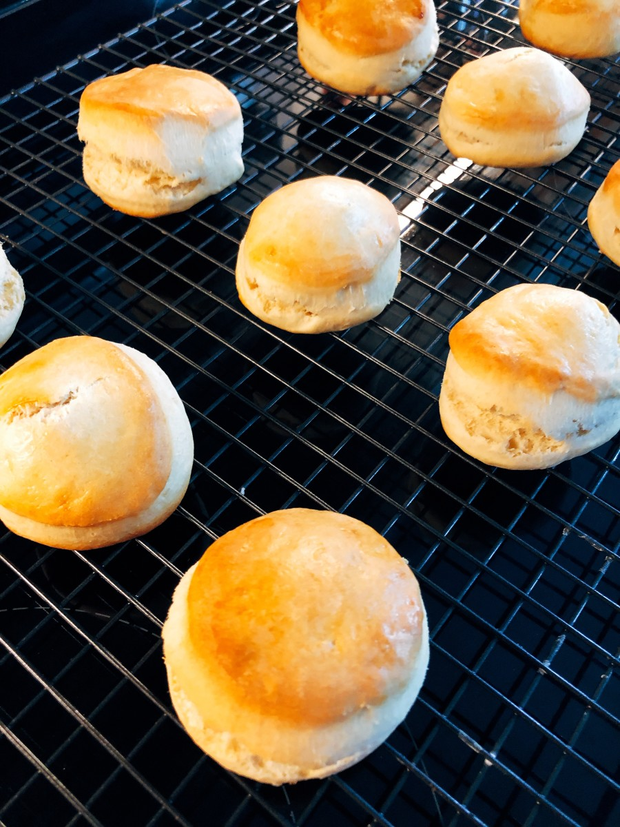 After baking, cool the scones on a wire rack.