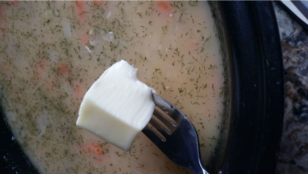fork sized chunk of butter